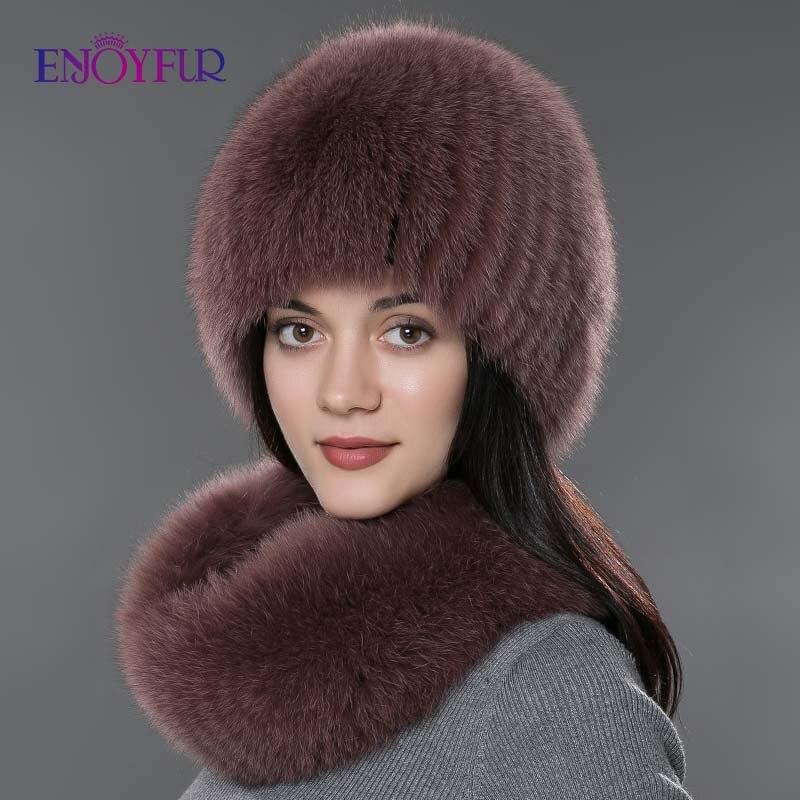 Femmes fourrure chapeau écharpe ensemble pour hiver naturel fourrure de renard écharpe et chapeau couleur unie nouvelle mode rue shoot chapeau et écharpe - 2