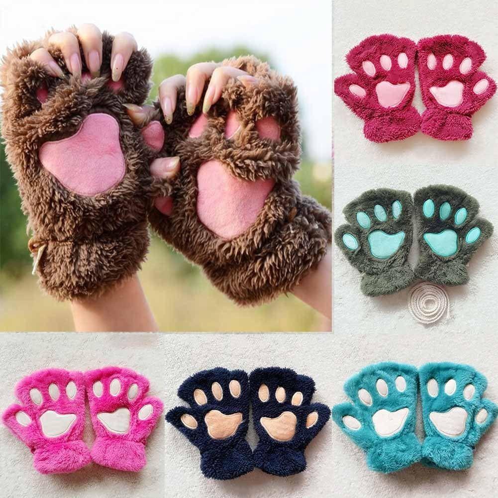 Winter Women Cute Cat Claw Paw Plush Mittens Short Fingerless Gloves Half Finger Warm Plush Antifreeze Gloves
