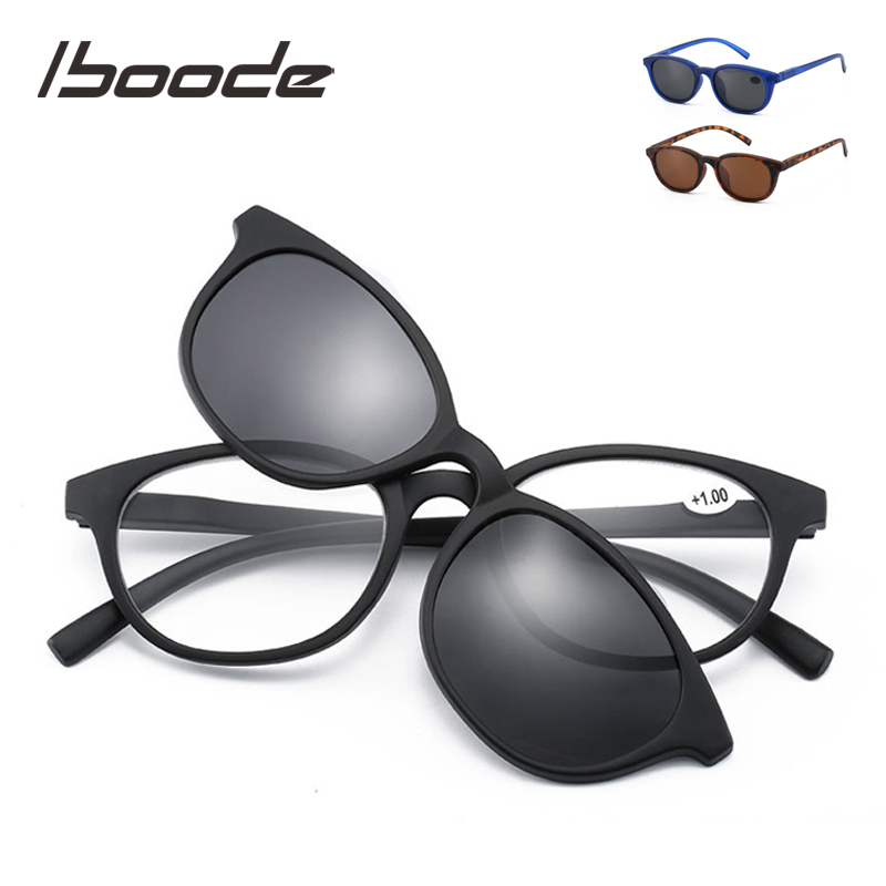Iboode Reading Sun Glasses With Magnetic Clip On Polarized Sunglasses Men Women Presbyopia Sunglasses Men Diopter +1.0 To 3.5