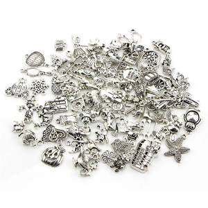 Animal Charms Pendants Bracelet Jewelry-Making Alloy Silver-Color Antique Findings Random-Mixed