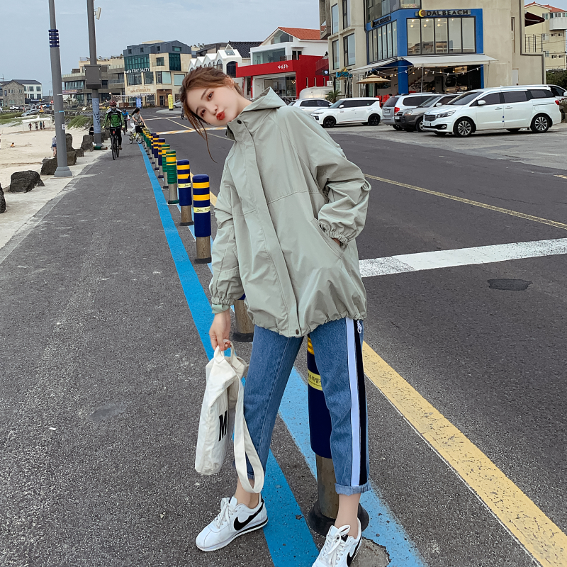 Women's Hooded   Jackets   2019 Autunm Causal windbreaker Women   Basic     Jackets   Coats Sweater Zipper Spring   Jackets   Bomber Famale