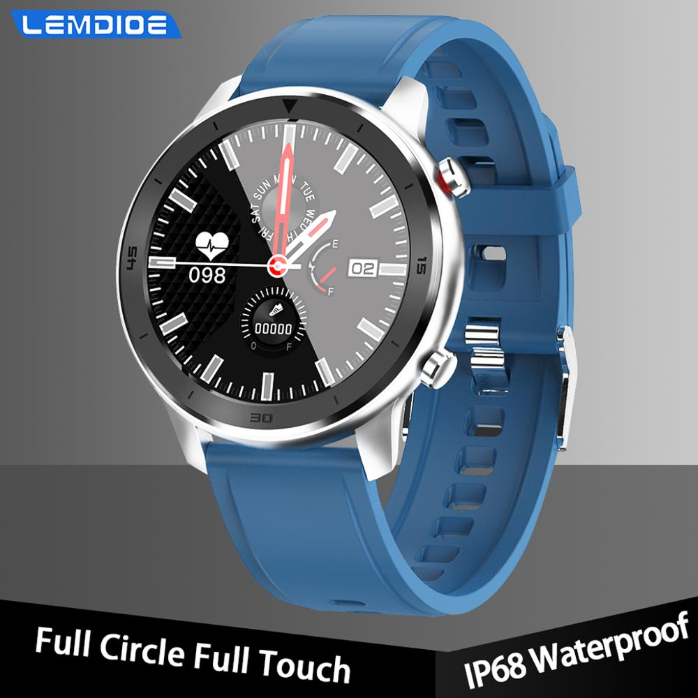 LEMDIOE full touch screen smart watch men blood pressure waterproof heart rate monitor long standby smartwatch for android ios(China)