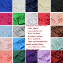 High-elastic and light-elastic knit Ribery fabric lining lining chiffon skirt fabric  elastic force. soft. Drape. Silk luster.