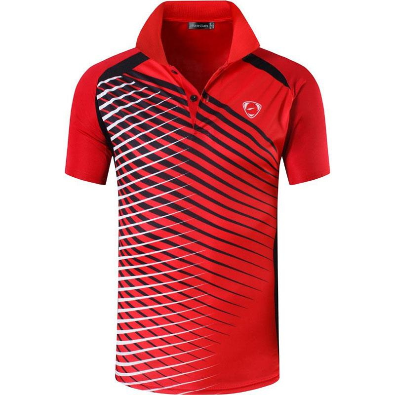 jeansian Men's Sport Tee Polo Shirts POLOS Poloshirts Golf Tennis Badminton Dry Fit Short Sleeve LSL243 Red2 2