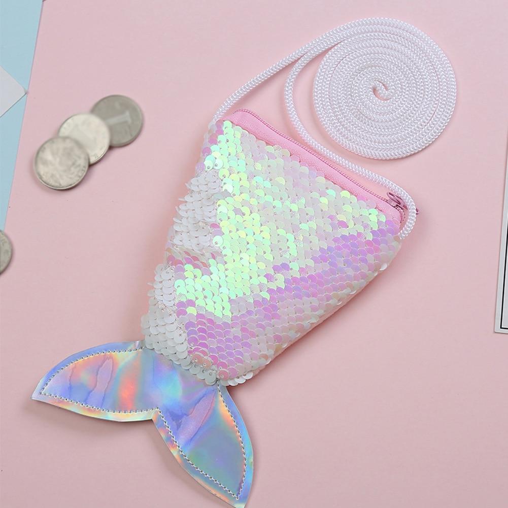 Mini Wallet Coin-Purse Crossbody-Pouch Gift Sequins Fish-Tail-Shoulder Zipper Girls Kids
