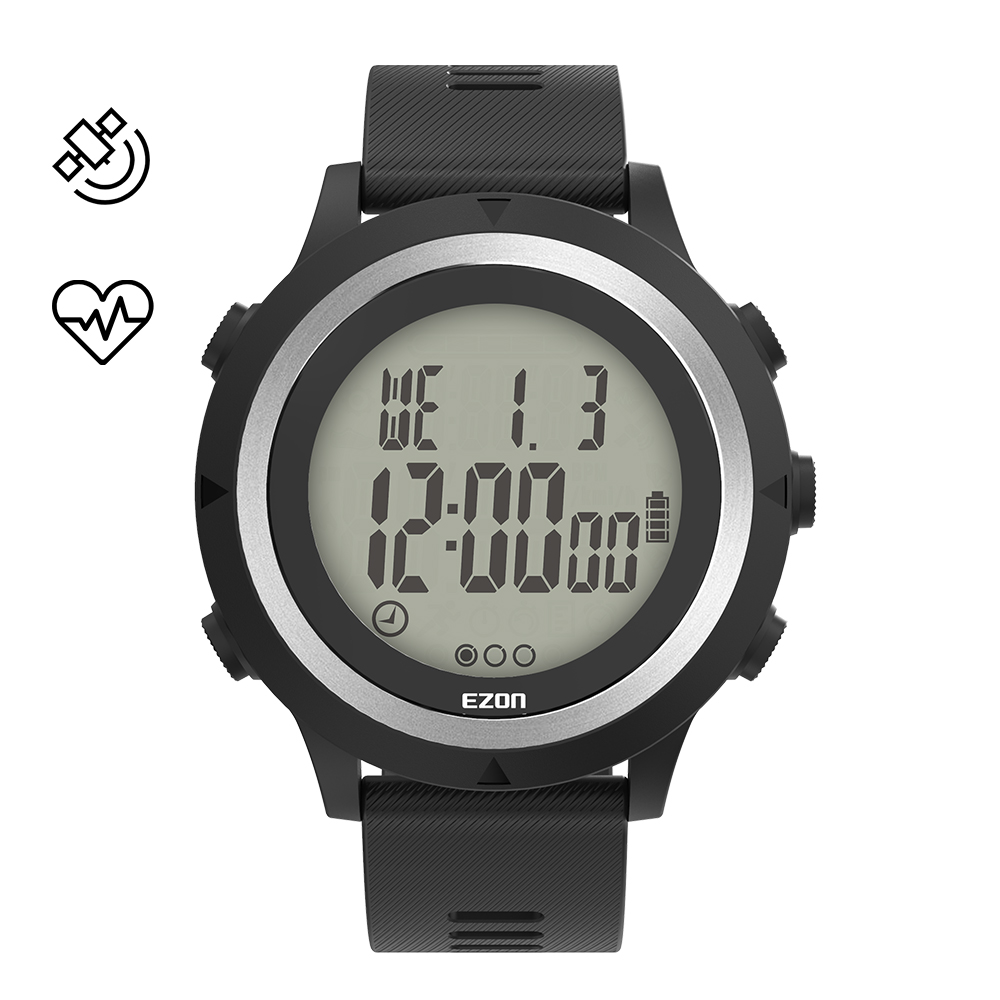GPS Running Smart Sport Watch EZON T909C Fitness Pedometer Optical Heart Rate Chronograph Alarm 5ATM Waterproof PM Progress Bar