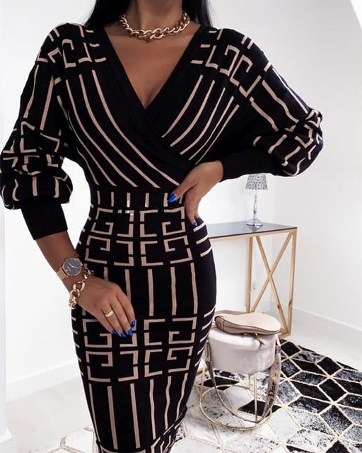 2020 Women Fashion Elegant Casual New Autumn Officewear Printing Long Sleeve Wrap Midi Dress 5