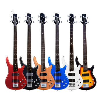 Electric Bass 4-string 24 frets Guitar For Adults Beginners Musical Instrument Black Blue Sunset Red White Wooden Gift BS01