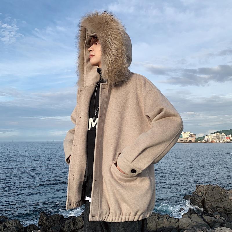 YASUGUOJI New 2019 Fashion Fur Hood Woollen Mens Coats and Jackets Thicken Winter Warm Wool Coat Loose Navy Blue Mens Overcoat