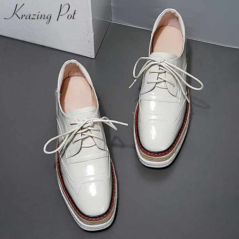 Krazing Pot Genuine Leather Wedges Thick Bottom Shoes Preppy Style Round Toe High Heels Women Fashion Lace Up Spring Pumps L03