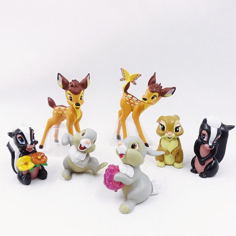 7pcs/Set Cartoon Bambi Deer Figure Action Rabbit Figurine Squirrel Figures Disney Anime Toys For Children Birthday Gifts 5~9CM