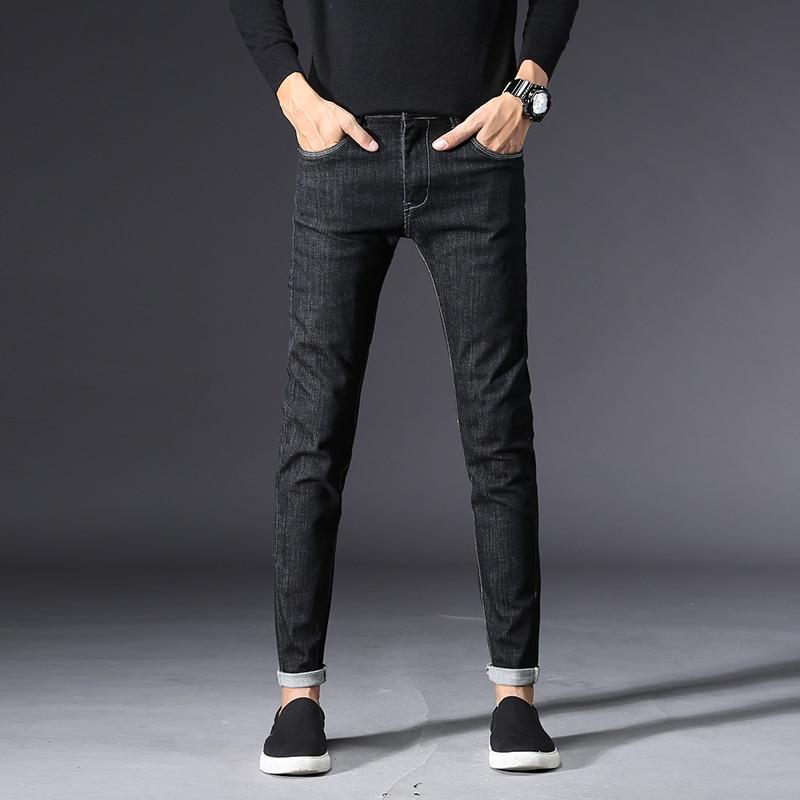 Мужские классические узкие джинсы, мужские брюки высокого качества, однотонные джинсовые штаны, уличная стрейч-черные джинсы, мужская мода