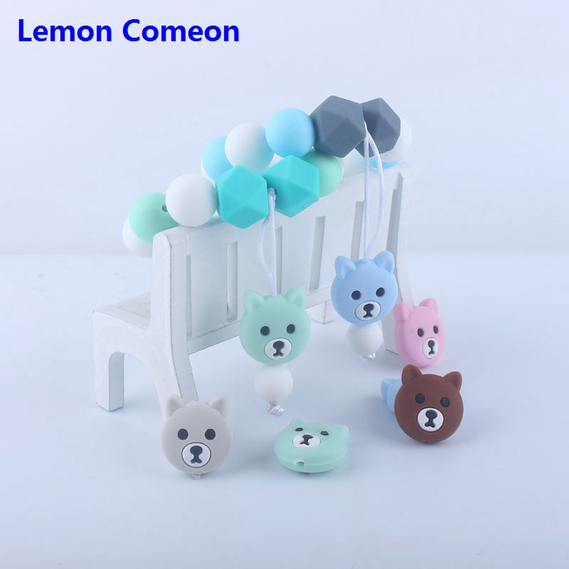 Lemon Comeon 1PC Silicone Bracelet Baby Teether Bear Silicone Beads BPA Free Nursing Teething Pram Toy For Toddler Infants Teeth in Baby Teethers from Mother Kids