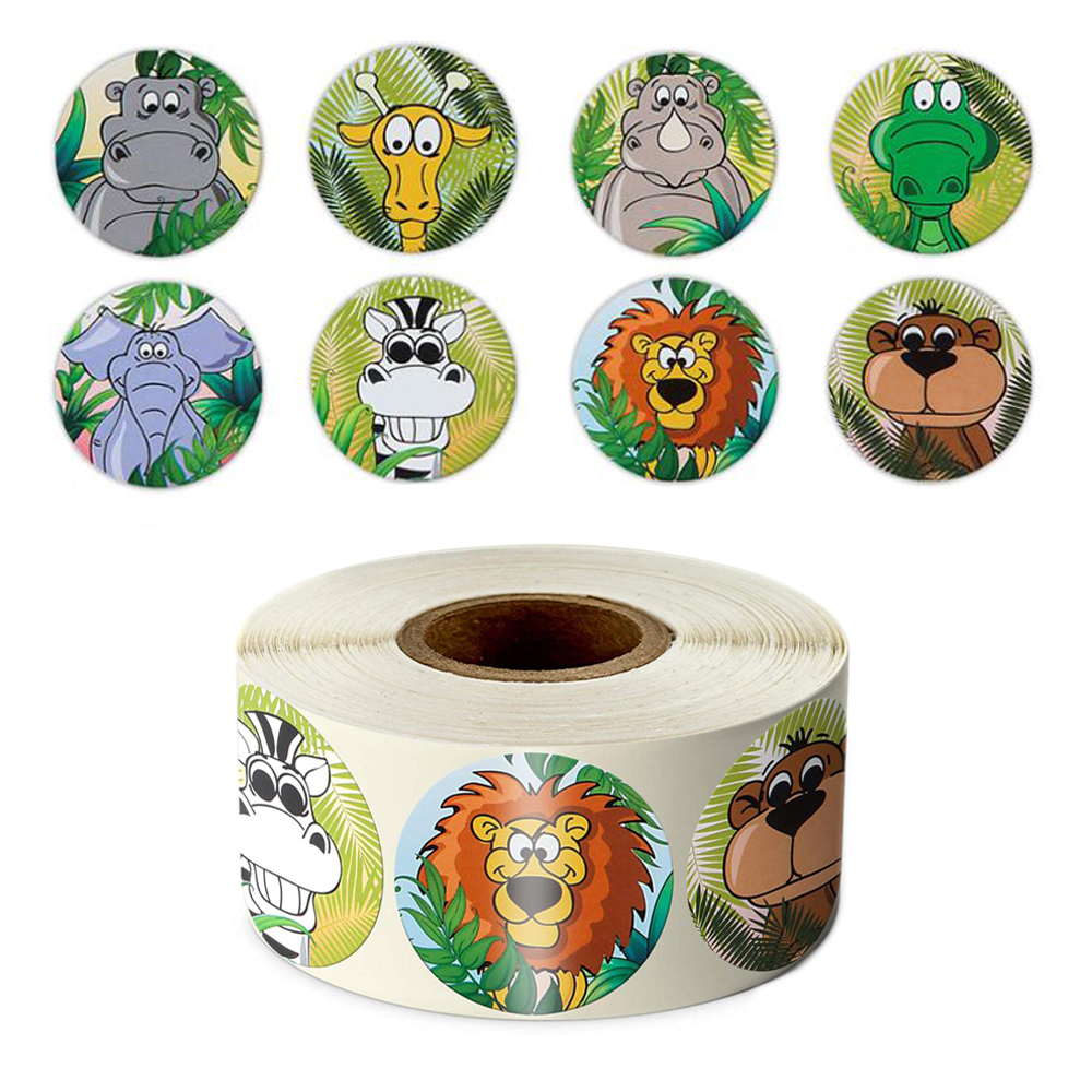 500pcs/roll Zoo Animals Cartoon Stickers For Kids Classic Toys Sticker School Teacher Reward Sticker 8 Designs Pattern