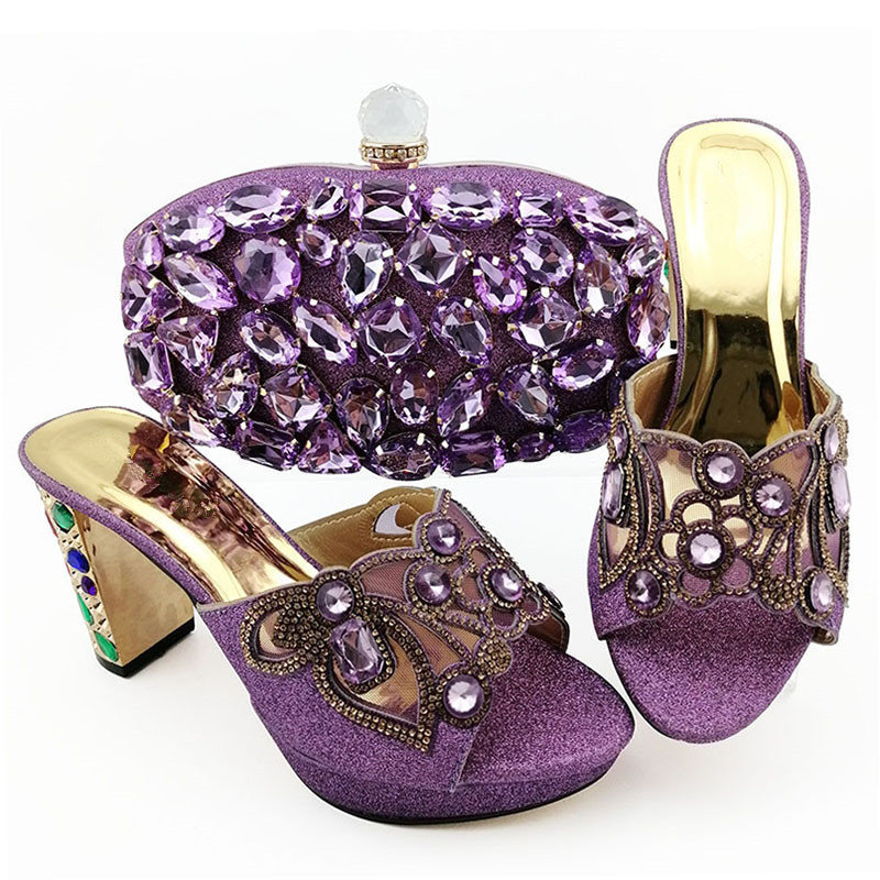 Nigeria Style Purple Color Rhinestone Shoes And Matching Bag Set For Church High Quality Ladies Slipper Shoes And Bag Set