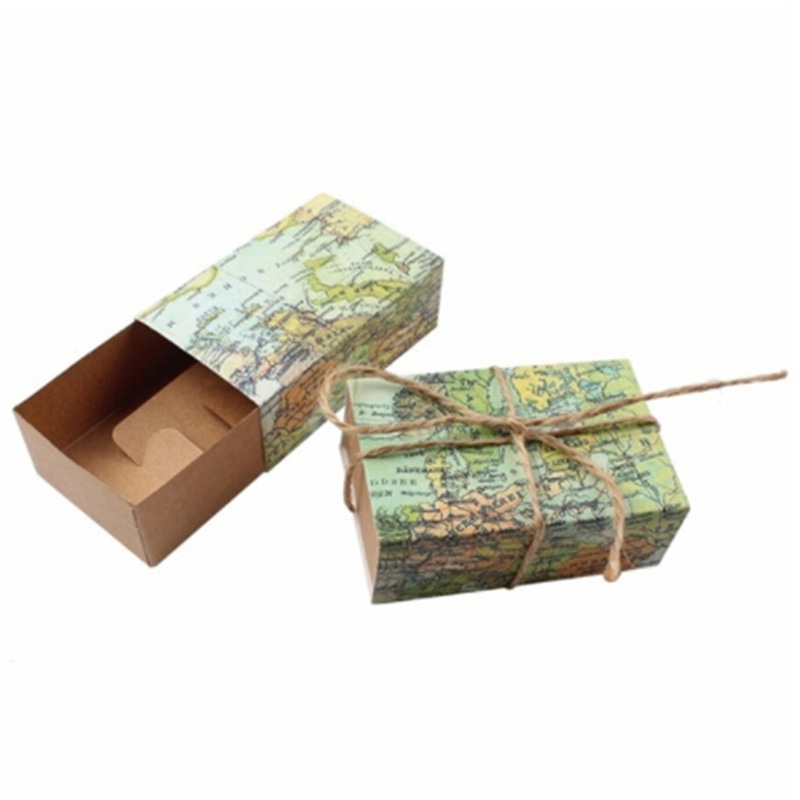 10 Pcs Novelty World Map Vintage Kraft Paper Candy Box Gift Bag Wedding Gift Favors Birthday Party Christmas Supplies image