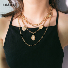 IngeSight.Z Vintage Multi Layer Chunky Chain Choker Necklace Collar Statement Golden Carved Coin Pendant Necklace Women  Jewelry ingesight z bohemia multi layer imitation pearl choker necklace collar statement lock carved coin pendant necklace women jewelry