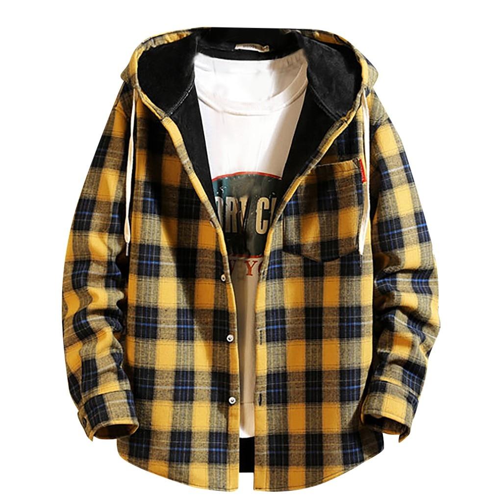 2019 Spring Autumn Men's Sweatershirt Slim Fit Men Long Sleeve Hooded Shirt Men Plaid Shirt Male Casual Men Shirt Large Size 5XL
