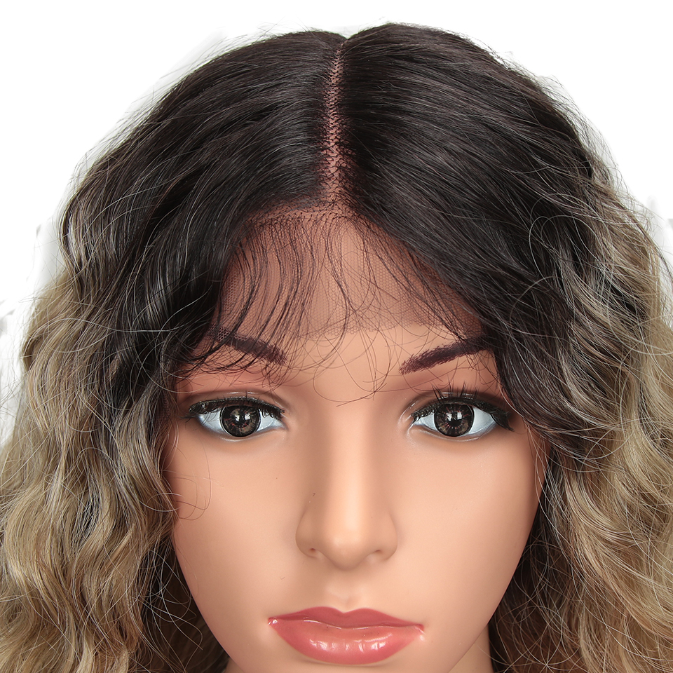 Magic Hair 30 Inch Ombre Kinky Curly Synthetic Lace Front Wig For Black Women Heat Resistant Synthetic Wigs With Baby Hair