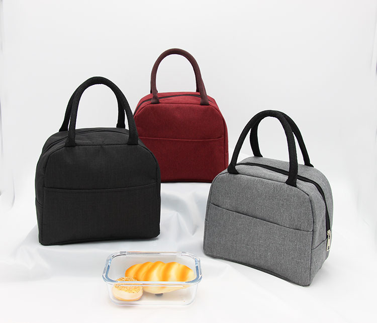 Solid Color Waterproof Nylon Portable Zipper Lunch Bags Women Student Lunch Box Thermo Bag Office School Picnic Cooler Bag