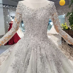 Image 4 - LS701645グレーイブニングドレス2020長袖oネックドバイ母花嫁ドレスクリスタル女性の日のドレス