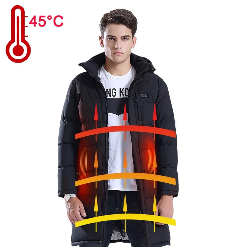 Tide Smart USB куртка с электрическим подогревом для мужчин Высокое качество сплошной черный теплый пуховик на молнии мужской топ с капюшоном толстое длинное пальто - 3