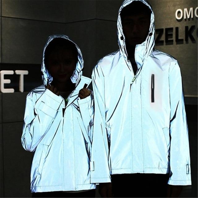 Long Sleeved Reflective jacket men women harajuku windbreaker jackets hooded hip-hop streetwear night shiny zipper coats