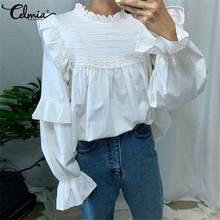 S-5XL Celmia Mode Vrouwen Blouse Lange Flare Mouwen Vintage Casual Shirt Zomer Ruches Top Elegant Office Zoete Blusas Feminina(China)