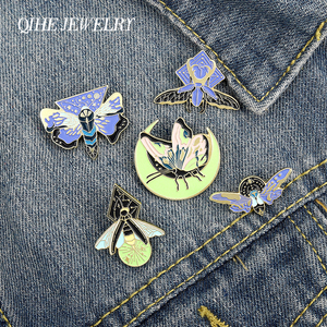 Noctilucent butterfly insect Enamel Lapel Pins Animals Luminous Brooches Badges Fashion Pins Gifts for Friend Jewelry Wholesale(China)
