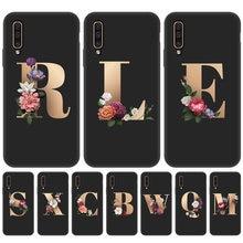 Flor do alfabeto capa de silicone para samsung a50 caso tpu funda para samsung galaxy a 50 a50 2019 6.4 polegada caso de telefone protetor