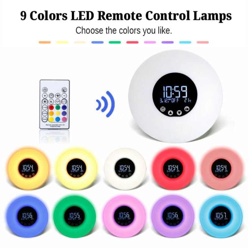 LED Night Light Bedside Touch Table Lamp Round LCD Alarm Clock Home Color Change Wake-Up Clock Thermometer Colorful Backlight
