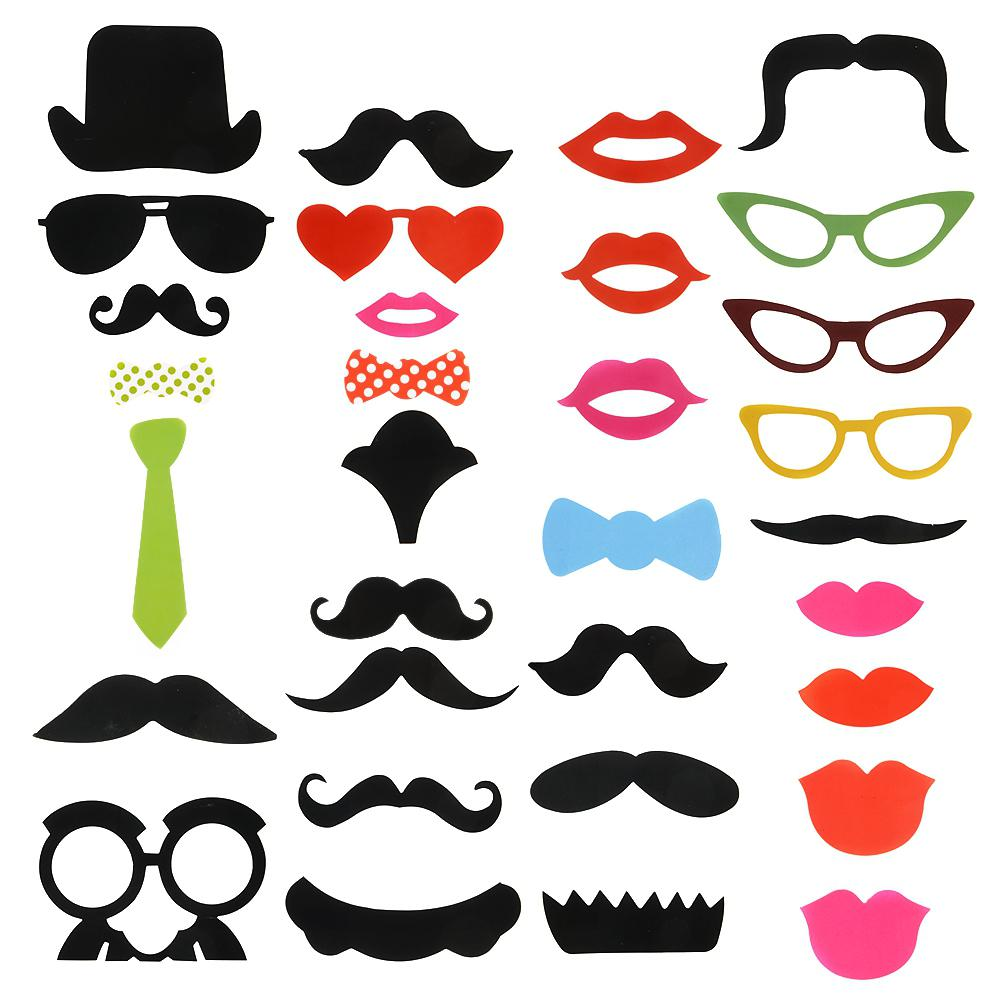32 Pieces/set New Year Party Novelty Mustache Mask Photographing Props Party Wedding Supplies Creative Funny Props
