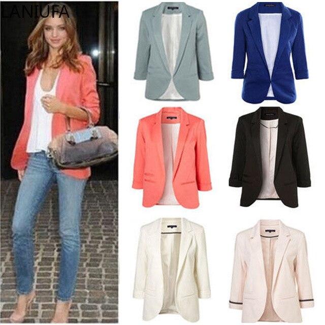 2019 Solid Color Women Blazers Office Ladies Plaid Blazer Long Sleeve Loose Suit Coat Blazers Women Jacket Female Outerwear Y960
