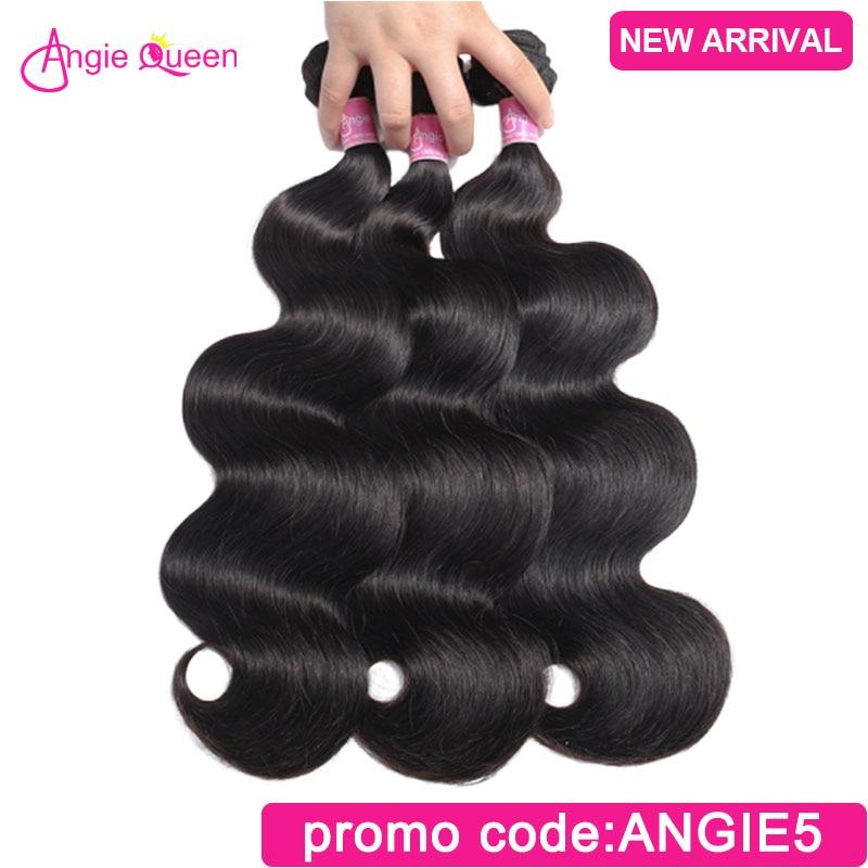 ANGIE QUEEN Brazilian Hair Body Wave Hair Bundle Virgin Human Hair Weave Natural Color Remy Hair 1/3 Bundle Deal Hair Extension