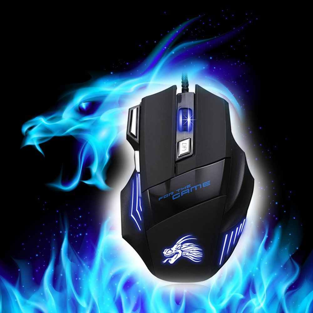 Profesional Lampu LED Wired Gaming Mouse 5500 DPI Optik USB Mouse Komputer Gamer untuk Komputer Overwatch Pubg Dota 2