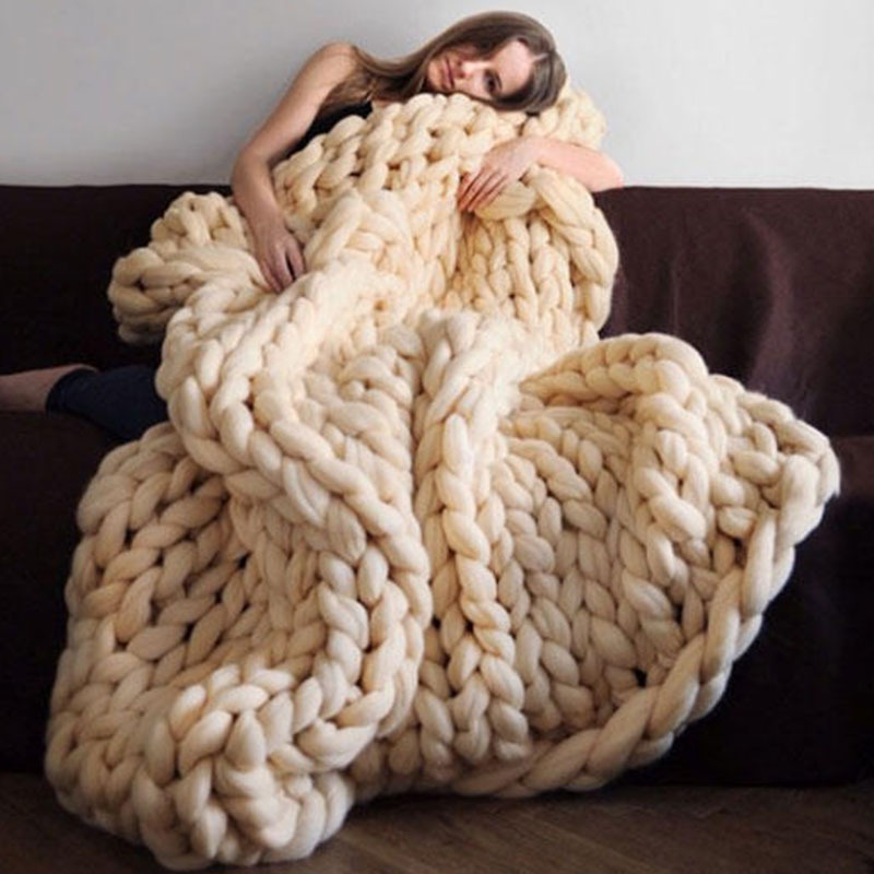2019 Nordic Coarse Wool Hand-woven Blanket  Knitted    Sofa Cover  Thick  Christmas Gift