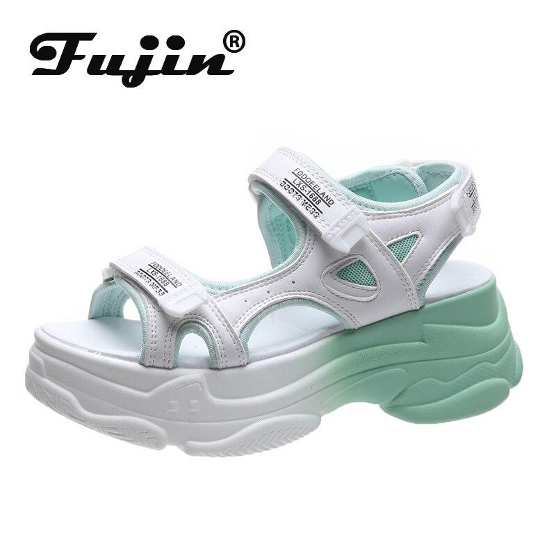 Fujin Women Sandals Casual Shoes Thick Bottom Breathable Ladies 2020 Slides Fashion Platform Shoes Women's Summer Sandals