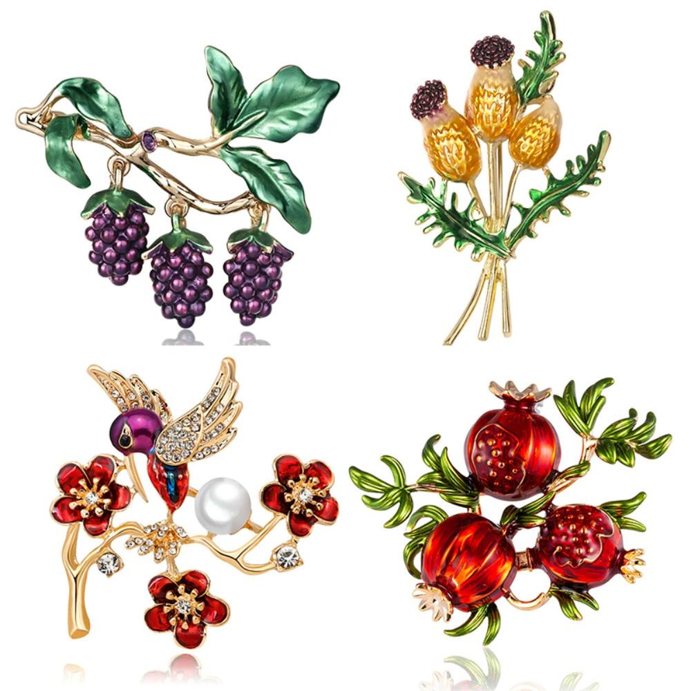 Flower Brooches Fruit Pomegranate Grape Bird Pearl Pin Brooch Rhinestone Men Women Plant Enamel Pin Jewelry Clothing Accessories