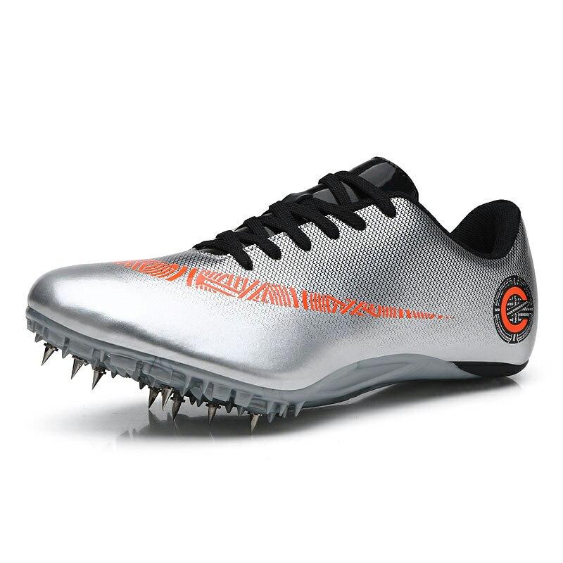 Мужские и женские спортивные кроссовки с шипами на шнуровке для подростков; спортивные кроссовки с шипами; цвет оранжевый, зеленый; мужские кроссовки для бега; спортивная обувь - Цвет: Silver