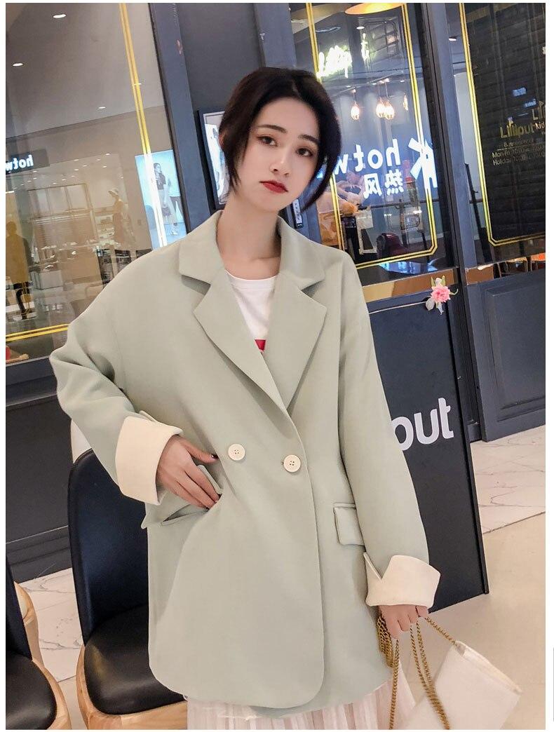 Loose Casual Women Blazer Retro Simple Solid Beige Suit Jacket Long Sleeve Bleyser Mujer Korean Women Jacket Large Size MM60NXZ