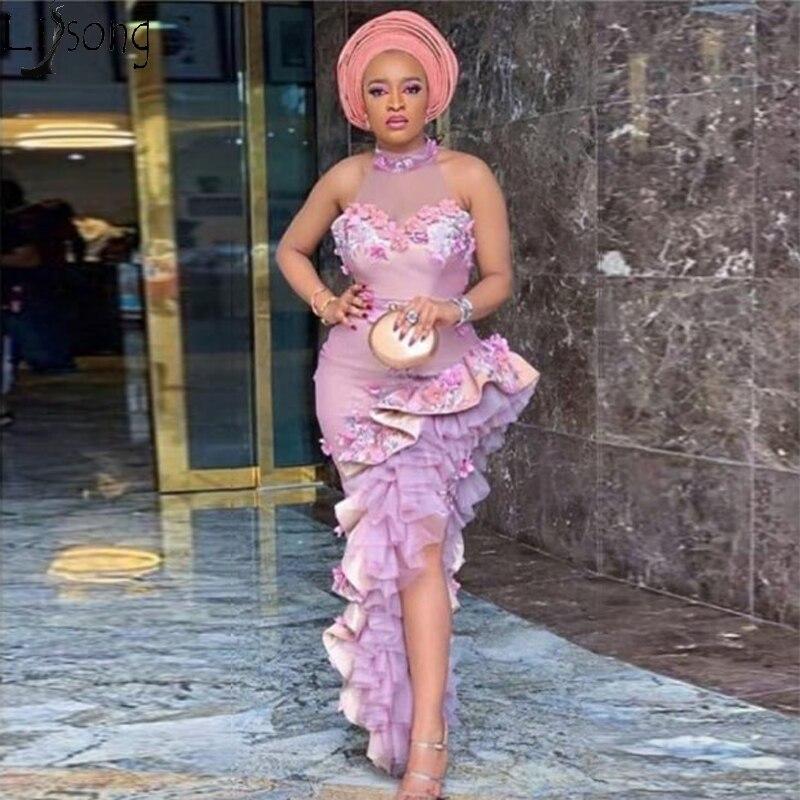 Aso Ebi Irregular Mermaid Evening Dress In Turkey Halter Ruffled High Slit Prom Dresses Plus Size African Women Formal Gowns