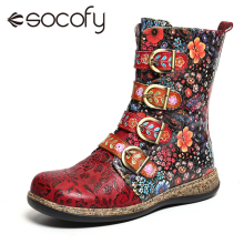 Ladies Shoes Ankle-Boots Botines Socofy Genuine-Leather Women Retro-Printed Metal Zipper