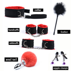 Image 4 - 12Pcs/set BDSM Sex Bondage Set With Metal Anal Tail Fox Handcuffs for Sex Mask Whip Erotic Toys Adult Women Couples Porn Game