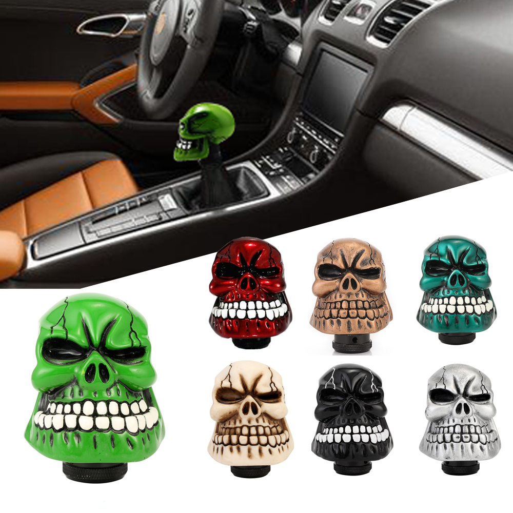 8mm 10mm 12mm Universal Car <font><b>Manual</b></font> Gear Shift Knob Wicked Carved Skull Shifter Lever Transmission pomo palanca <font><b>cambio</b></font> D40 image