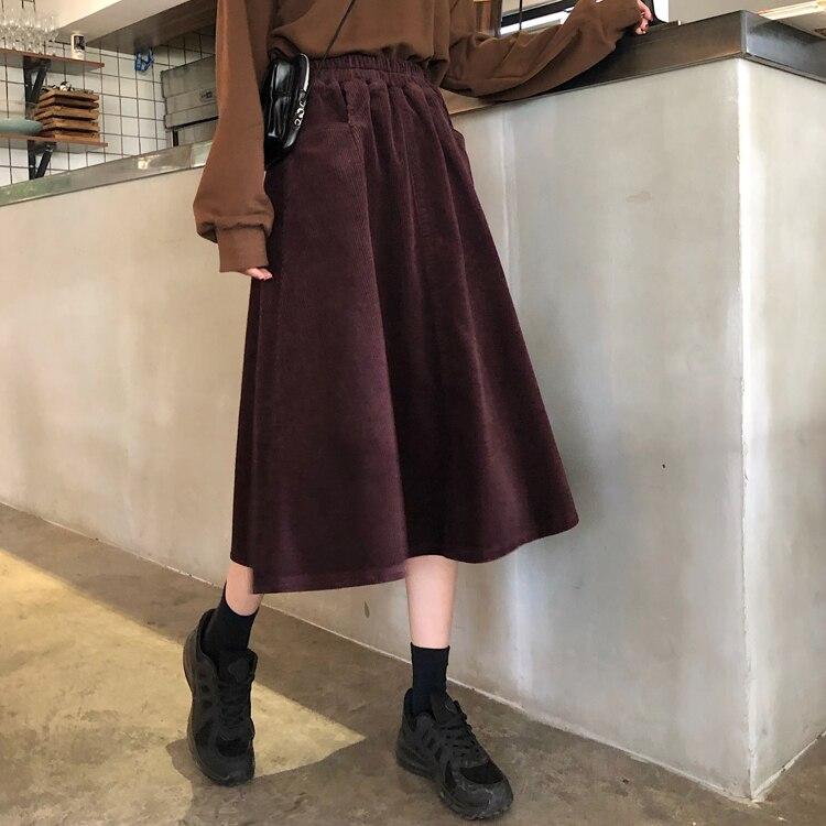 New Winter Autumn Harajuku Midi Corduroy Skirts Women Fashion A-Line Skirts Ladies Streetwear Plus Size High Waist Elastic Skirt