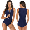 Zippered Front Sports One Piece Swimsuit 13