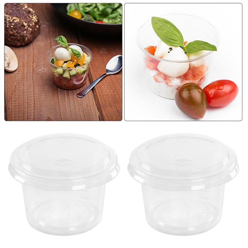 100pcs Disposable Portion Cups Mousses Jelly Cup Condiment Cup With Cover Clear Container For Mousses Sauce Yogurt Jelly Pudding