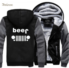 Creative Beer Jeep Funny Hoodies Men 2018 Winter Warm Fleece Zipper Hooded Sweatshirts Thick Hoodie Mens Hoody Coat Tracksuit
