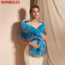 2019 Winter Warm Bridal Wedding Dress Wraps Faux Fur Bride Small Vest  Cardigan Poncho Multicolor Long Wedding Shawl