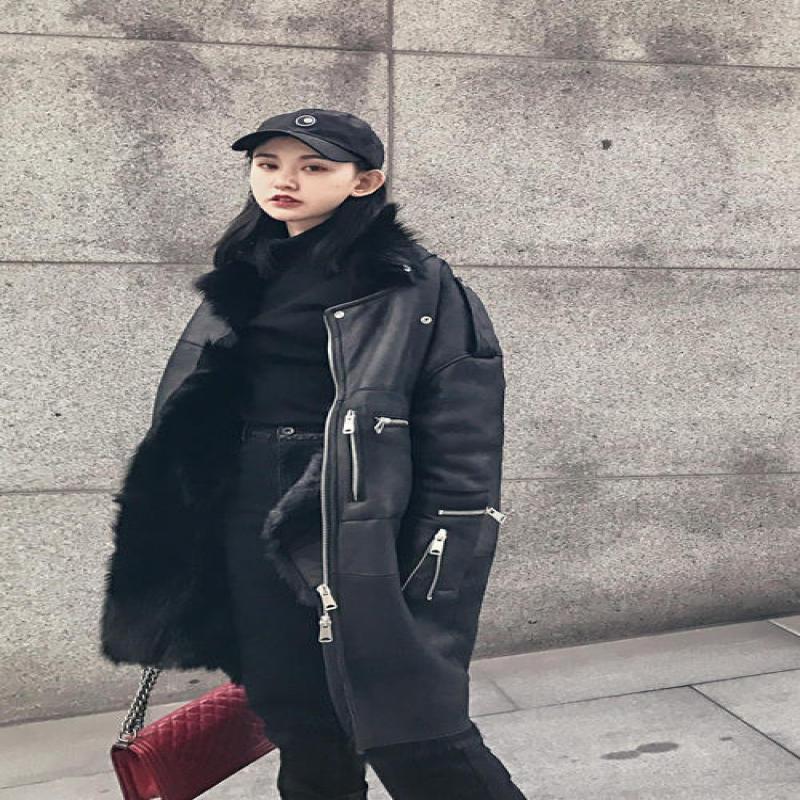 Geniune Leather Jacket Women Sheepskin Leather Jacket Wool Fur Coat Winter Thick Abrigo Invierno Mujer 16172 MF316